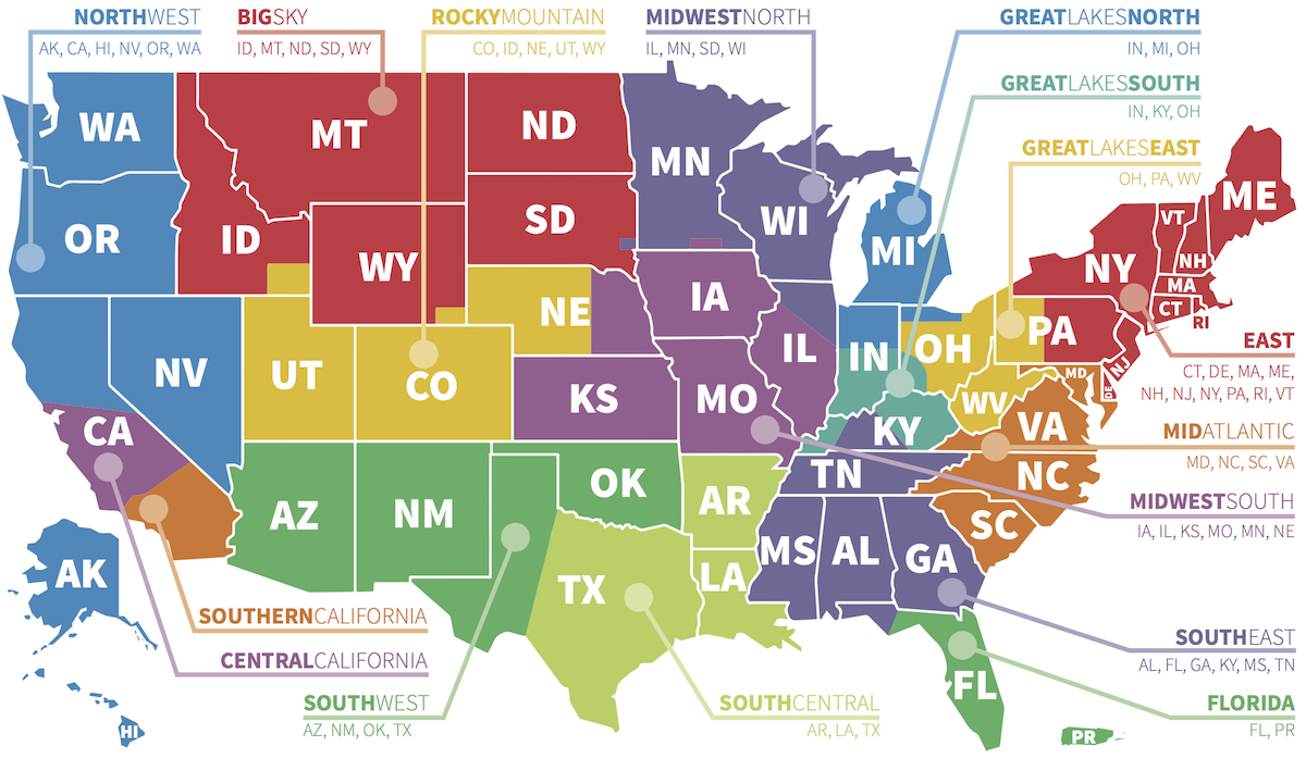 Vineyard USA Our Leadership - Us map divided into regions