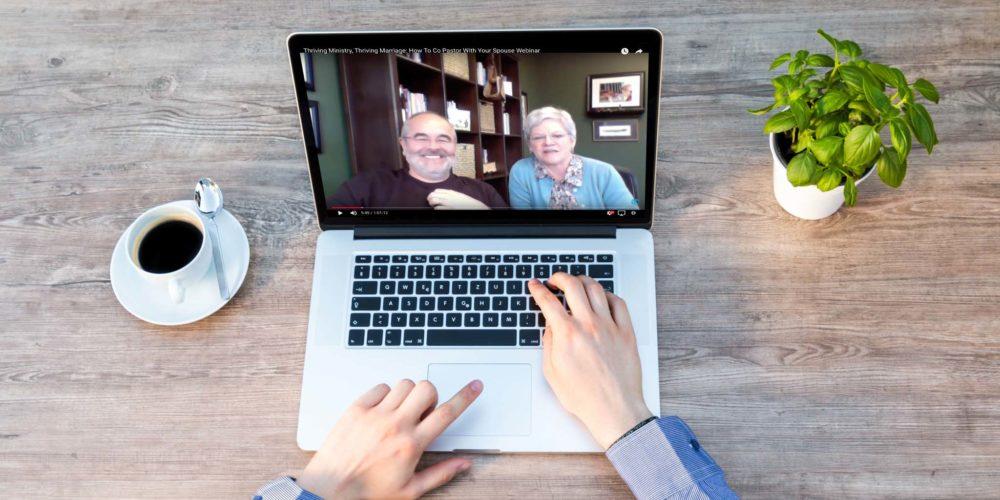 Computer showing webinar screen